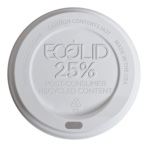 Ecolid® 25% Recycled Content Large White Hot Cup Lid