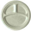 Renewable & Compostable Sugarcane Plates  - 10in 3-compartment, Natural